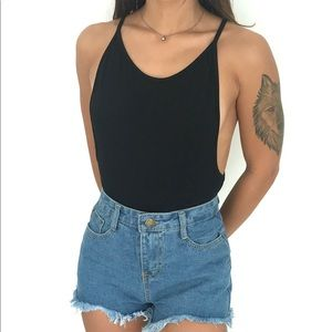 Backless Black Bodysuit   ShopPinkWorth.com